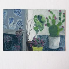 Cactus - Gouache sur papier aquarelle 300g/m2- 8 x 12 cmOeuvre originale, signée, non…