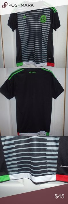 Adidas Mexico Soccer Jersey Climacool Mens Size Lg Adidas Climacool Mexico  Black 095fe3093a5d9