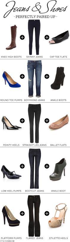 combinando zapatos y jeans