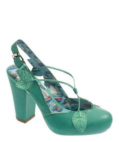 Look what I found on #zulily! Aqua Green Leaf Parasol Leather Slingback by Miss L Fire #zulilyfinds