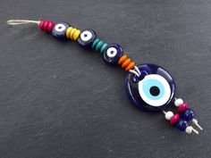 Fun Colorful Turkish Evil Eye Wall Hanging Home Garden Decoration with Evileye Traditional Artisan Beads – Bahçe – home accessories Stone Beads, Glass Beads, Greek Evil Eye, Shell Chandelier, Evil Eye Pendant, Evil Eye Charm, Blue Beads, Wooden Beads, Boho Decor