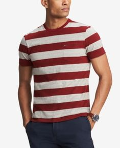 07bdd453 Tommy Hilfiger Men's Lexington Stripe Pocket T-Shirt, Created for Macy's -