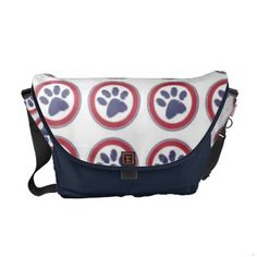 Cute Patriotic Pawprints messenger bag