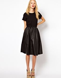 ASOS Midi Dress With Leather Skirt And Jersey Top - this is amazing - i want it