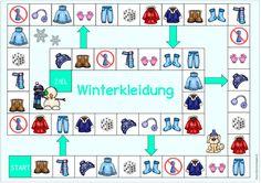 "Ideenreise: Spielfeld ""Winterkleidung"" für DaZ Languages Online, Foreign Languages, Seasons Activities, Activities For Kids, Irish Language, English Worksheets For Kids, Toddler Play, Dado, English Lessons"