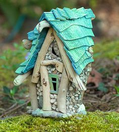 Chameleon\'s Fairy House - made from driftwood & stones, perfect for outdoors, spirit of a happy trickster inside!
