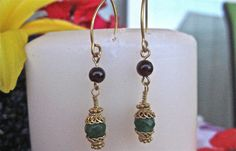 East Indian Bali Style Earrings with Garnets & Emeralds dangles | eBay. Starting price $15.00 buy it now $18.00. Debe's Gems Original.