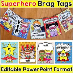 Encourage good behavior and goal achievement with these 50 fun Superhero editable brag tags in PowerPoint format! Type your own sayings into the text boxes to get the exact wording you would like. You can change the font, font size, font colors and font special effects.
