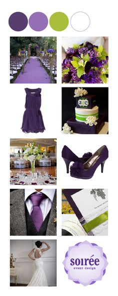 Purple, lavender, green and white