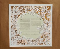 "https://flic.kr/p/i91TPU | Woodland Papercuts-Flowers & Herbs ketubah | Bespoke order: Flowers & Herbs papercut ketubah Featuring black eyed suzies, lantanas, peonies, olive branches, lavender, thistle, dill flowers, thyme, parsley, and one little 4-leaf clover for good luck. Ketubah is 18X18"" big with metallic gold and lime green papers."