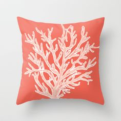 Coral - white on coral  Throw Pillow by Mary E. Cox - $20.00