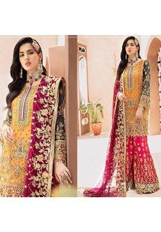 Pakistani Dress Design, Pakistani Dresses, Sharara Suit, Salwar Suits, Red Lehenga, Party Wear Dresses, Dress Making, Custom Made, Designer Dresses