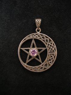 Vintage Silver Pagan Wiccan Celtic Moon Pentagram Pendant w/ Amethyst