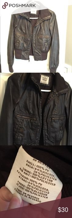 Levi's Poly Leather Jacket This is a beautiful PU leather jacket from Levi's. It is brown and size XS. It is a pretty heavy coat sure to keep you warm for the fall weather. I only wore this jacket once and it is in beautiful condition. Levi's Jackets & Coats