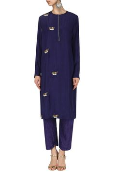 NINETEEN89 BY DIVYA BAGRI Indigo Elephant motif crushed kurta with straight pants. Shop Now! #nineteen89bydivyabagri #kurta #indianfashion #indiandesigners #perniaspopupshop #happy-shopping