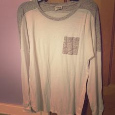 PINK long sleeve shirt White and gray with pocket. Long, comfy, cute. No stains or flaws. Only worn a few times PINK Victoria's Secret Tops Tees - Long Sleeve