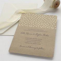 BRIDES® Gold Foil Dot on Kraft Wedding Invitation Kit