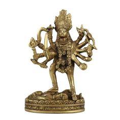 Amazon.com: Goddess Kali Statue and Sculpture Hindu Spiritual Art; Brass; 3.5 X 1.75 X 6 Inches: Furniture & Decor