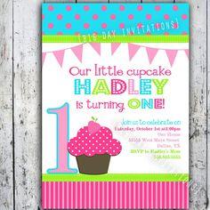 Cupcake Birthday Party Invitations  Bright by BigDayInvitations, $11.49 - soooo cute!