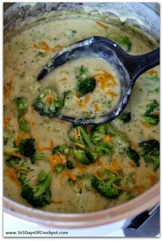 Cheesy Broccoli Soup in the Crockpot that's naturally gluten free and healthy!