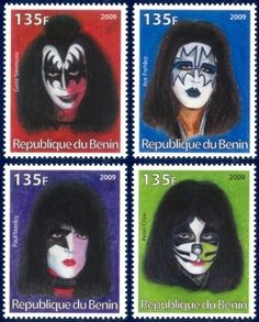 KISS K.I.S.S. Rock Band Gene Simmons Set of 4 Stamps Mint Unused MNH 2009