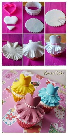 CUPCAKES~fondant cupcake toppers for bridal shower or princess party Fondant Cupcake Toppers, Easy Fondant Cupcakes, Deco Cupcake, Fondant Cakes, Easy Fondant Decorations, Baking Cupcakes, Baking Desserts, Fondant Bow, Rose Cupcake