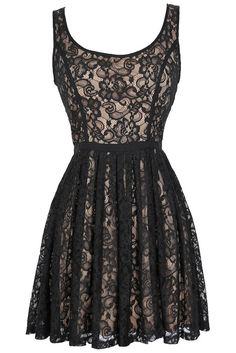 Effortlessly Enchanting A-Line Lace Dress in Black/Nude-Lily