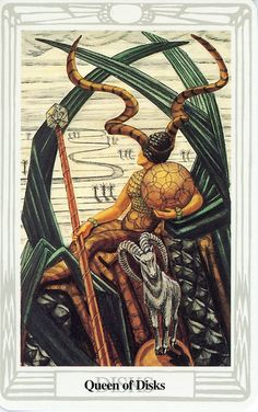 Queen of Disks, Book of Thoth Tarot (Aleister Crowley and Frieda Harris)
