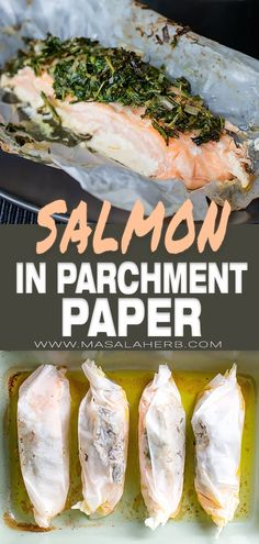 in Parchment with Herbs - salmon fish cooked in a baking sheet, aka Salmo. -Salmon in Parchment with Herbs - salmon fish cooked in a baking sheet, aka Salmo. Baked Salmon Recipes, Fish Recipes, Seafood Recipes, Dinner Recipes, Fish Dinner, Seafood Dinner, Dinner Meal, Salmon In Parchment Paper, Roast Fish