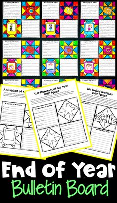 End of Year Writing Prompts Quilt with Summer Bucket List Activity and More! End Of Year Activities, Quilt Display, Summer Bucket Lists, Student Work, Square Quilt, Bulletin Board, Writing Prompts, Squares, Students