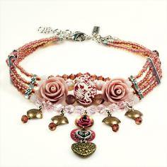 Choker rozen vintage roze cabochon | Kettingen kort | Catena Sieraden