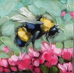 Bumblebee painting Tiny original impressionistic oil painting
