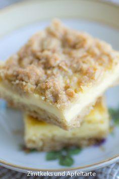 Zitronige Cheescake-Schnitten mit chrunchy-Streuseln... lecker fruchtig und schnell gemacht - Zimtkeks und Apfeltarte