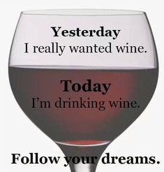 Yesterday I really wanted wine. Today I'm drinking wine. Follow your dreams. #winememes #WineHumor #WineQuotes