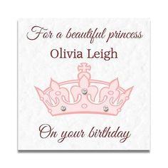 Handmade Personalised Girls Daughter Princess 3rd 4th 5th 6th 7th Birthday Card