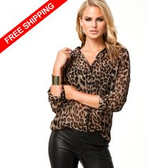 d9ec72583a Free shipping spring 2014 COUTURE NEW leopard easing sexy single breasted long  sleeved chiffon blouse  23.70