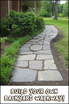 How to Build Your Own Backyard Flagstone Pathway #easydeckstobuild