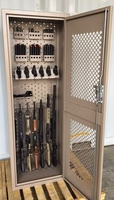 Weapons storage cabinets with custom configured gun storage. For more information go to www.gssdoors.com