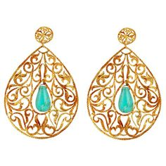 Signature Byzantine Drop Earrings by Eina. Adore that splash of teal.....