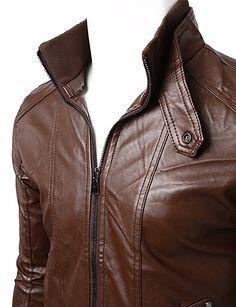 Doublju Men Chic Slim Fit High Neck Faux Leather Jacket BROWN,XXL