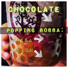 Chocolate + popping bobba de melón y fresa! Excelente combinación! #cassavarootsveracruz #antojo