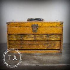 Vintage Industrial Gerstner Antique Wood Tool Box Chest Jewelry Box Steampunk