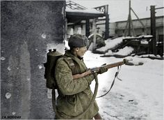 Soviet soldier with flamethrower