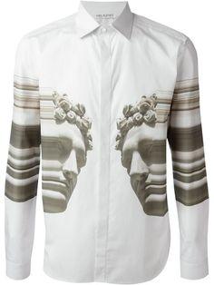 Shop Neil Barrett abstract bust print shirt