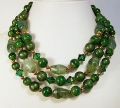Vintage Green Art Glass Bead Necklace Multi by GretelsTreasures