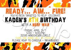 Camo Nerf Inspired Dart Gun Birthday Party Invitation