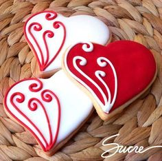 Decorative Valentine Cookies - Not all have recipes - some do but decorated cookies can be easily duplicated using your own sugar cookie and icing ! #cookiedecoratingideas