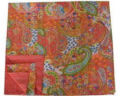 Queen Size Red Paisley Kantha Quilt Bed cover Indian by lavinas