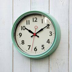 Retro Mint Green Metal Wall Clock