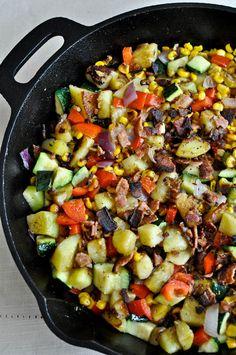 grilled corn summer breakfast hash